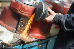 Close-up grinding process with power tool Stock Photography