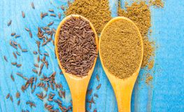 Ground cumin in a spoon and whole cumin on the wooden background. Close up on ground cumin in a spoon and whole cumin. Blue wooden background Stock Image