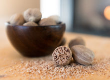 Close Up of Ground Nutmeg and Bowl Stock Photos