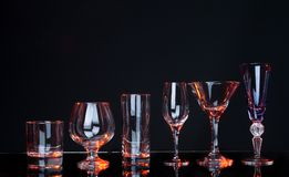 Close-up group of alcoholl glass on a black Royalty Free Stock Photo