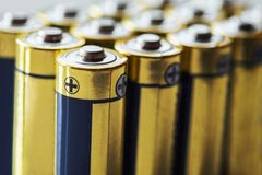 close up group of alkaline AA battery energy Stock Photography