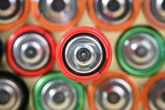 Close-up group of alkaline batteries top view Stock Photography