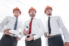 Close up.group of architects builders stock photo