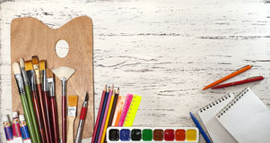 Close up of group art supplies. Royalty Free Stock Photography