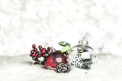 Close up group of christmas ball and snowflake on white fur at s Royalty Free Stock Image