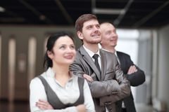 Close up.group of confident business people on the background of the office stock images