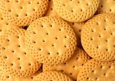 Close up group of crackers background, Round crackers as backgro Royalty Free Stock Photography