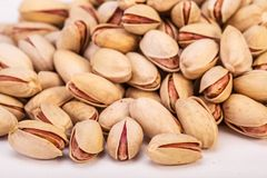 Close Up Group Of Dry, Fresh And Large Raw Pistachio Nuts In She Stock Photography