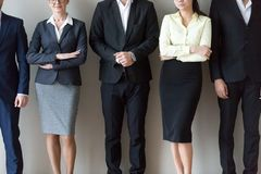 Young and mature business people standing together in row Royalty Free Stock Image