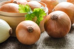 Close up group of onions on wooden table Stock Photos