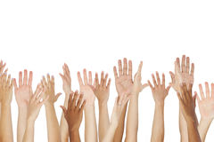 Close Up Of A Group Raising Their Hands stock photos