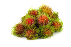 Close up group of rambutan. On white background Stock Images