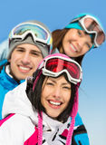 Close up of group of skier friends Royalty Free Stock Image
