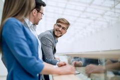 Close up.group of successful employees royalty free stock image