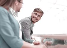 Close up.group of successful employees royalty free stock photo