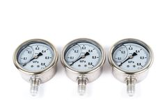 Close-up the group of three New Vibration-resistant manometer filled with glycerin. Manometers on isolated white. Background Royalty Free Stock Image
