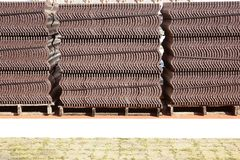 Groups of tile roof on the floor stock photography