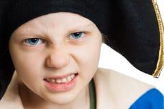 Close-up of grumpy pirate boy Royalty Free Stock Photos