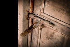 Close up:grunge metal old rusty door hinge,. Stock Image
