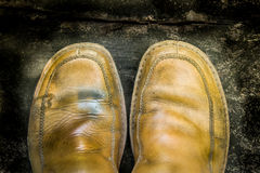 Close-up of grungy leather shoes Royalty Free Stock Image