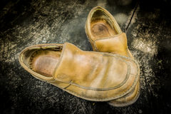 Close-up of grungy leather shoes Stock Image