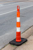 Close up the grungy traffic pole on street for safety transporta Royalty Free Stock Photos