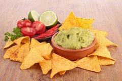 Nachos and guacamole Stock Image