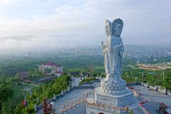 Guanyin Bodhisattva statue. The close-up of Guanyin Bodhisattva statue in tiefo Temple in Xixiang, Hanzhong, Shaanxi, China Stock Images