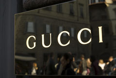 Close up of Gucci logo at store entrance Royalty Free Stock Photography