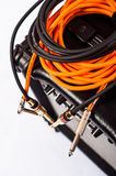 Close-up of guitar amplifier with jack cable Royalty Free Stock Photo