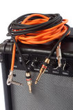 Close-up of guitar amplifier with jack cable.  Stock Image