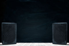 Close-up of guitar amplifier with jack cable.  Royalty Free Stock Photography