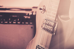 Close-up of guitar amplifier with jack cable.  Royalty Free Stock Photo