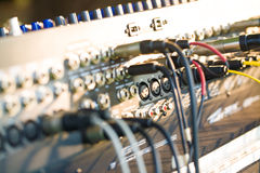 Close-up of guitar amplifier with jack cable Royalty Free Stock Image
