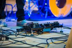 Close up of guitar pedal board. Stock Image