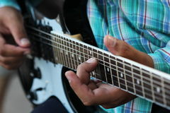 Close up guitar ,play music concept Stock Photography