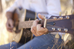 Close up of guitarist Royalty Free Stock Photography