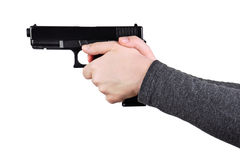 Close up of a gun in a hands Royalty Free Stock Photos