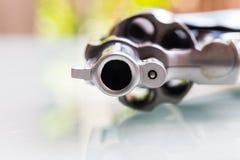 Close up of gun muzzle. Gun muzzle of handgun in close up Stock Photo