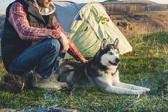Close-up Guy bearded in jeans checkered shirt and a sleeveless jacket with a dog husk on vacation sitting on nature next. Close-up Guy bearded in jeans checkered Stock Photography