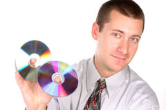 Close up of guy with cd. In hand isolated on white Royalty Free Stock Image