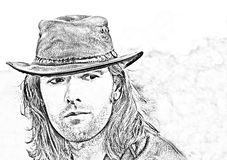 Close-up guy portrait in cowboy hat. Style safari. Fashion illustration. royalty free illustration