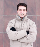 Close-up  guy street jacket outdoors  winter, idea concept  happy confident person, fashion lifestyle, walk weekend Stock Photography