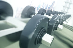 Close up of gym with weights lie in the range Stock Image