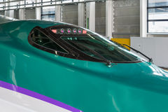 Close up of H5 Series bullet (High-speed or Shinkansen) train. Royalty Free Stock Photos