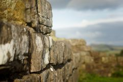 Close up Hadrian`s Wall. Close up shot of Hadrian`s Wall at Walltown Crags in Northumberland Stock Photo