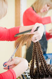 Close-up of haircut in hairdresser salon Royalty Free Stock Photos