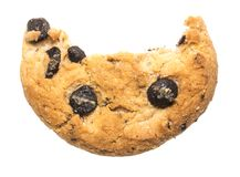 Close up of an half eaten cookie with crumb against a white back Stock Image