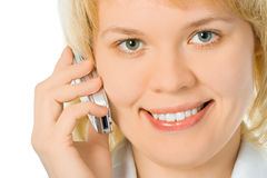 Close-up half face business woman talk cell phone Royalty Free Stock Photography