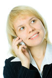 Close-up half face business woman talk cell phone Royalty Free Stock Image